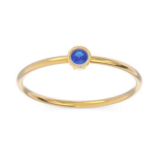 Petite Modern Bezel Dvidala Blue Sapphire Ring in 14k Yellow Gold