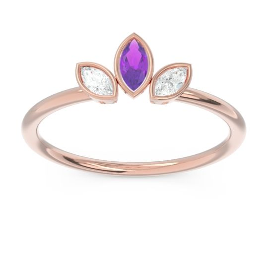 Petite Modern Bezel Marquise Pallavagkura Amethyst Ring with Diamond in 14K Rose Gold