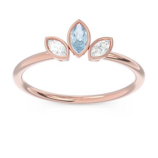 Petite Modern Bezel Marquise Pallavagkura Aquamarine Ring with Diamond in 14K Rose Gold