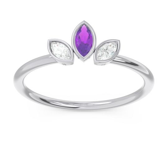 Petite Modern Bezel Marquise Pallavagkura Amethyst Ring with Diamond in 14k White Gold