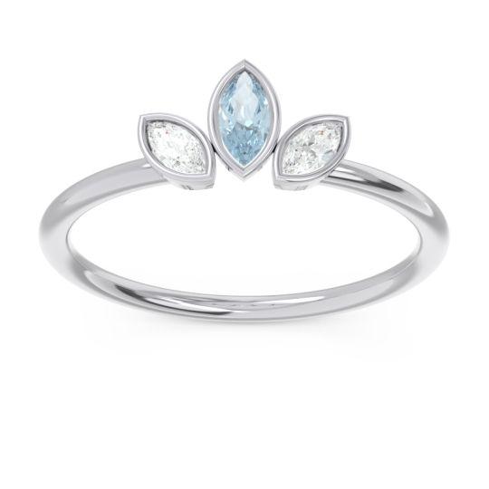 Petite Modern Bezel Marquise Pallavagkura Aquamarine Ring with Diamond in Platinum