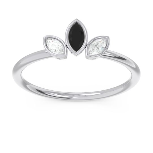 Petite Modern Bezel Marquise Pallavagkura Black Onyx Ring with Diamond in Platinum