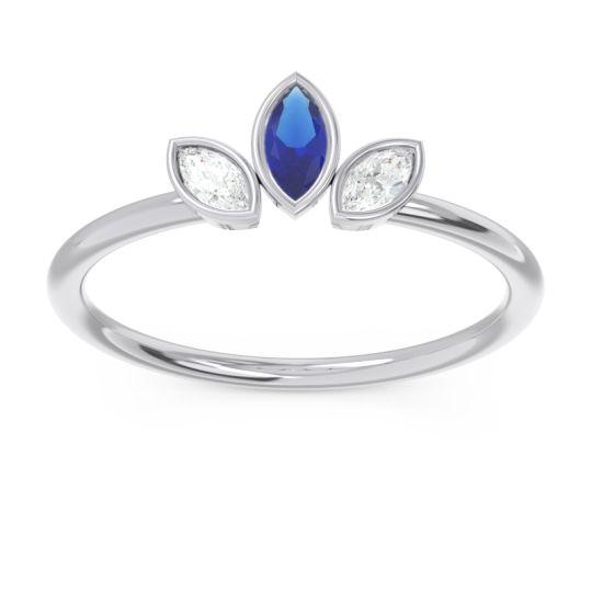 Petite Modern Bezel Marquise Pallavagkura Blue Sapphire Ring with Diamond in Platinum