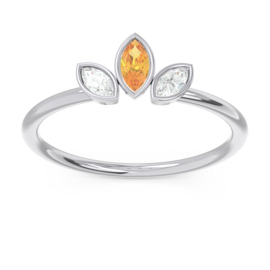 Petite Modern Bezel Marquise Pallavagkura Citrine Ring with Diamond in Platinum