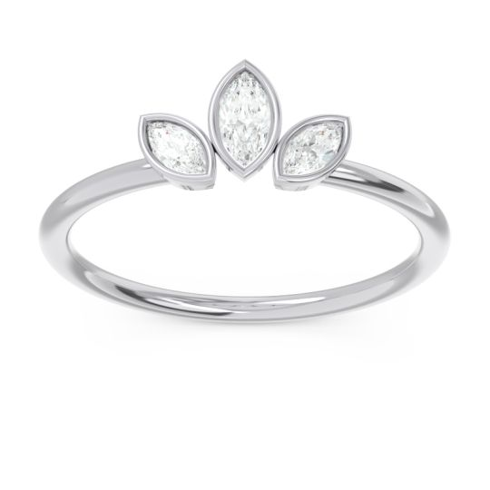 Petite Modern Bezel Marquise Pallavagkura Diamond Ring in Platinum