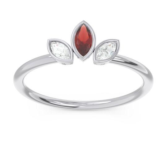Petite Modern Bezel Marquise Pallavagkura Garnet Ring with Diamond in Platinum