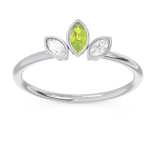 Petite Modern Bezel Marquise Pallavagkura Peridot Ring with Diamond in Platinum