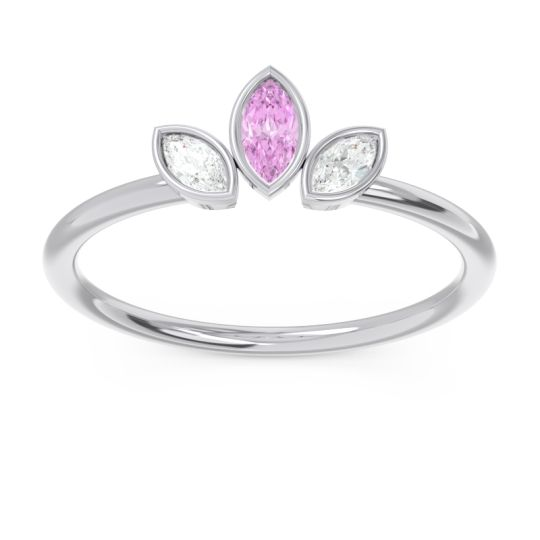 Petite Modern Bezel Marquise Pallavagkura Pink Tourmaline Ring with Diamond in Platinum