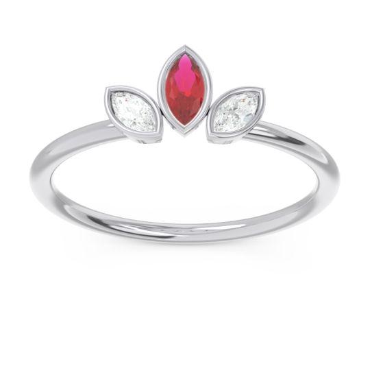 Petite Modern Bezel Marquise Pallavagkura Ruby Ring with Diamond in Platinum