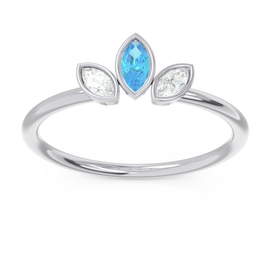 Petite Modern Bezel Marquise Pallavagkura Swiss Blue Topaz Ring with Diamond in Platinum