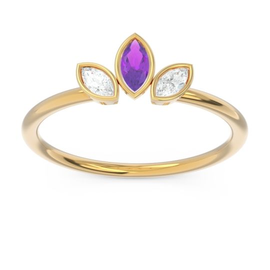 Petite Modern Bezel Marquise Pallavagkura Amethyst Ring with Diamond in 14k Yellow Gold