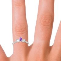 Petite Modern Bezel Marquise Pallavagkura Amethyst Ring with Diamond in Platinum