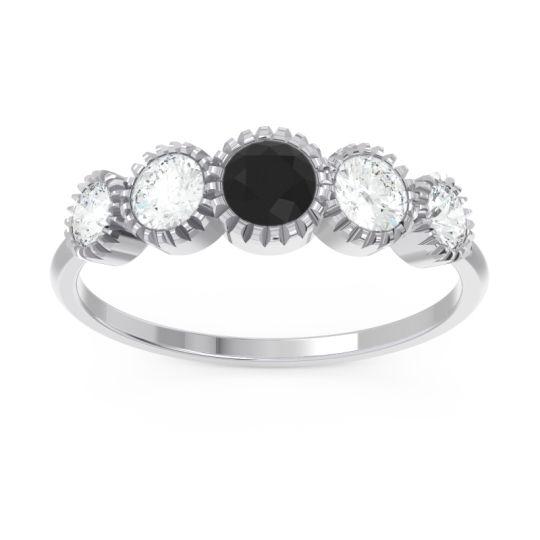 Petite Modern Bezel Milgrain Avastha Black Onyx Ring with Diamond in 14k White Gold