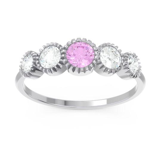 Petite Modern Bezel Milgrain Avastha Pink Tourmaline Ring with Diamond in 14k White Gold