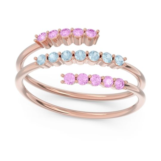 Petite Modern Wrap Nirjhari Aquamarine Ring with Pink Tourmaline in 18K Rose Gold