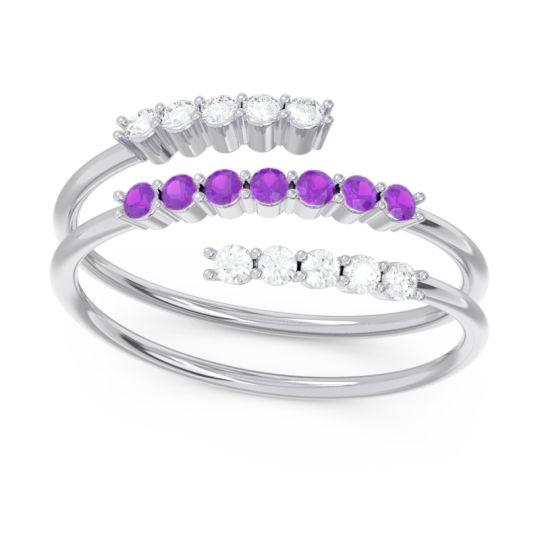 Petite Modern Wrap Nirjhari Amethyst Ring with Diamond in 14k White Gold