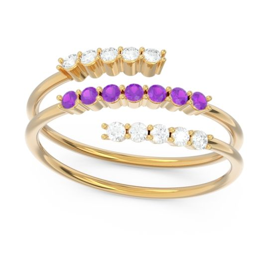 Petite Modern Wrap Nirjhari Amethyst Ring with Diamond in 14k Yellow Gold