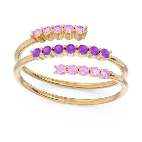 Petite Modern Wrap Nirjhari Amethyst Ring with Pink Tourmaline in 14k Yellow Gold
