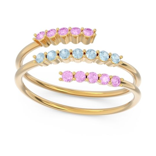 Petite Modern Wrap Nirjhari Aquamarine Ring with Pink Tourmaline in 14k Yellow Gold