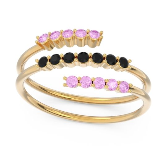 Petite Modern Wrap Nirjhari Black Onyx Ring with Pink Tourmaline in 14k Yellow Gold