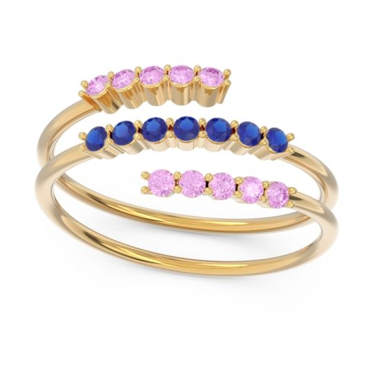 Petite Modern Wrap Nirjhari Blue Sapphire Ring with Pink Tourmaline in 14k Yellow Gold