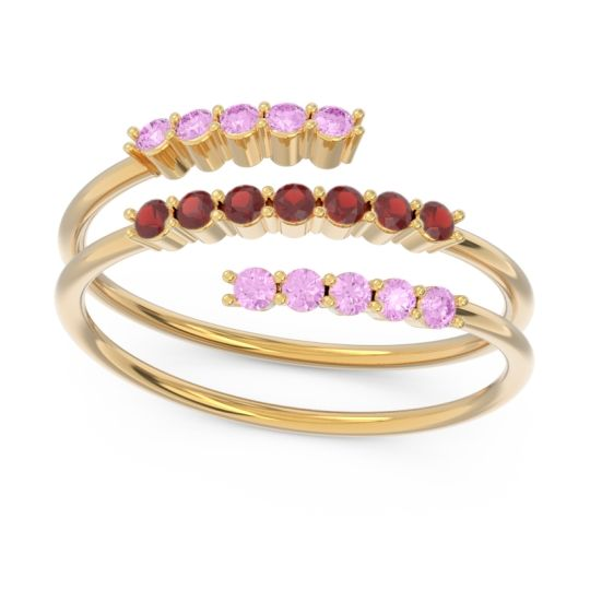 Petite Modern Wrap Nirjhari Garnet Ring with Pink Tourmaline in 14k Yellow Gold