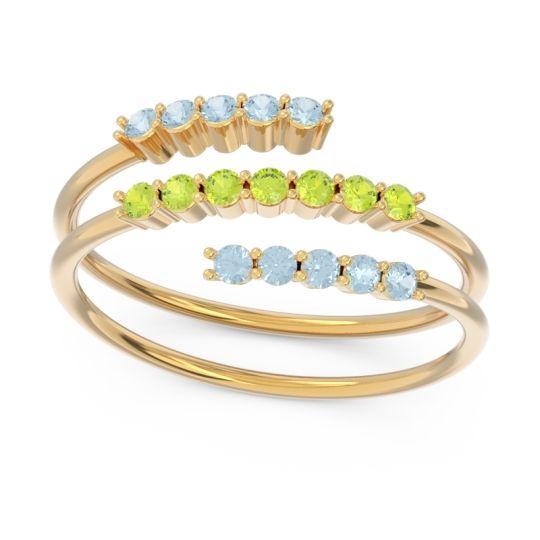 Petite Modern Wrap Nirjhari Peridot Ring with Aquamarine in 18k Yellow Gold