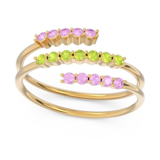 Petite Modern Wrap Nirjhari Peridot Ring with Pink Tourmaline in 14k Yellow Gold