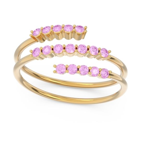 Petite Modern Wrap Nirjhari Pink Tourmaline Ring in 14k Yellow Gold