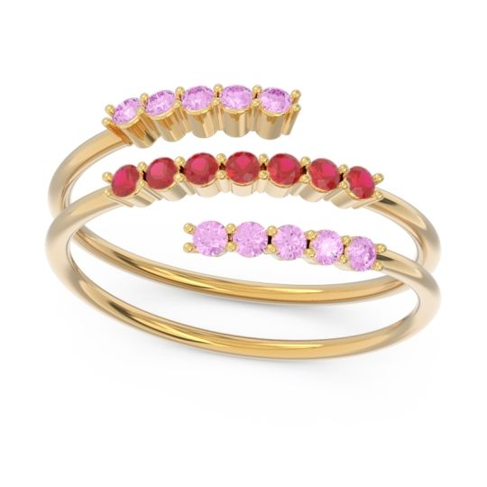 Petite Modern Wrap Nirjhari Ruby Ring with Pink Tourmaline in 14k Yellow Gold