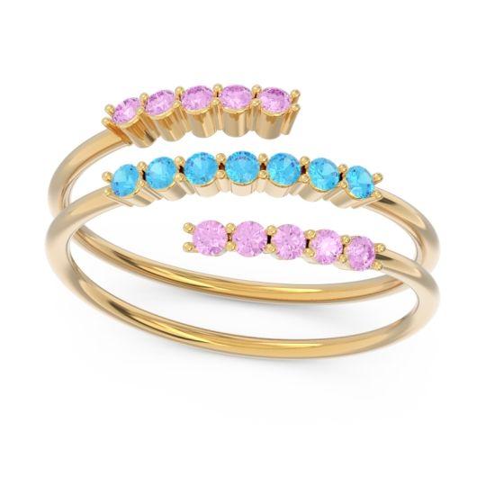 Petite Modern Wrap Nirjhari Swiss Blue Topaz Ring with Pink Tourmaline in 14k Yellow Gold