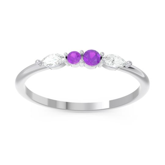 Petite Modern Marquise Pave Mukta Amethyst Ring with Diamond in 14k White Gold