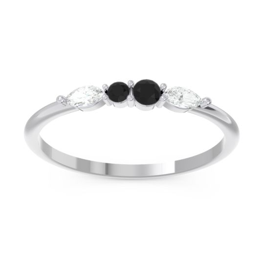 Petite Modern Marquise Pave Mukta Black Onyx Ring with Diamond in 14k White Gold