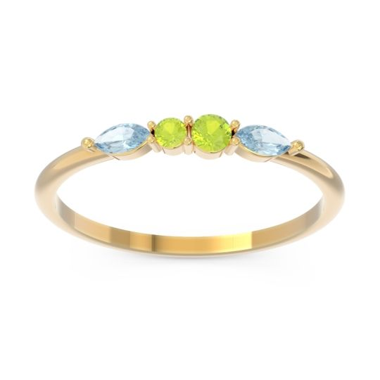 Petite Modern Marquise Pave Mukta Peridot Ring with Aquamarine in 14k Yellow Gold