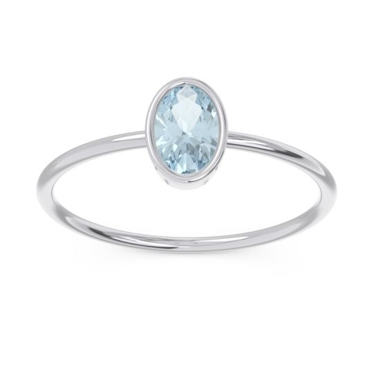 Petite Modern Bezel Oval Andakrti Aquamarine Ring in 14k White Gold