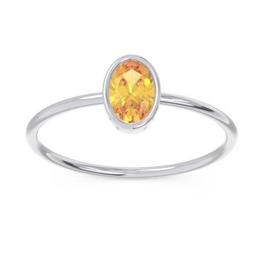 Petite Modern Bezel Oval Andakrti Citrine Ring in 14k White Gold