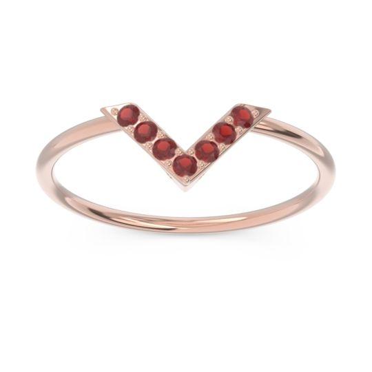 Petite Modern Pave Azaya Garnet Ring in 14K Rose Gold