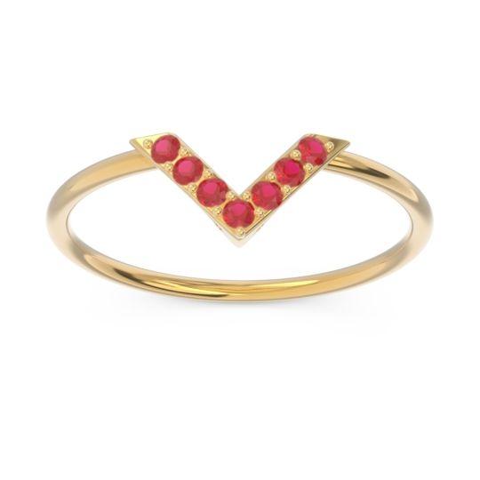 Petite Modern Pave Azaya Ruby Ring in 14k Yellow Gold
