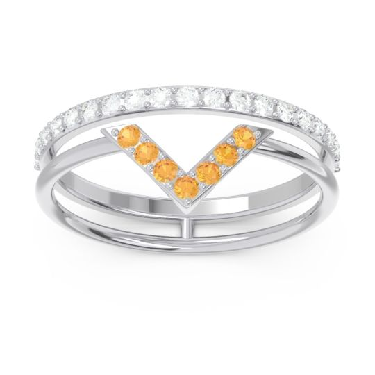Modern Double Line V-Shape Pave Viparinama Citrine Ring with Diamond in 14k White Gold