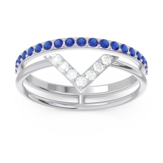 Modern Double Line V-Shape Pave Viparinama Diamond Ring with Blue Sapphire in 14k White Gold