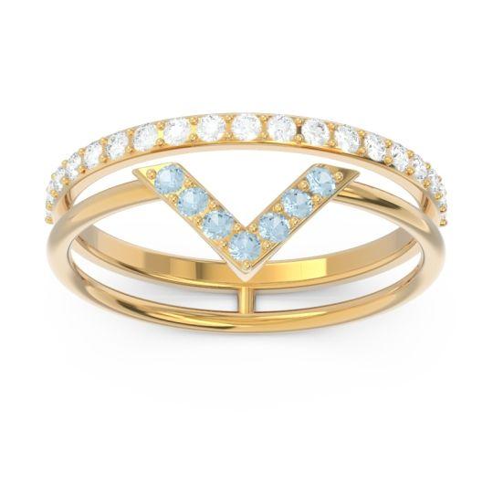 Modern Double Line V-Shape Pave Viparinama Aquamarine Ring with Diamond in 14k Yellow Gold