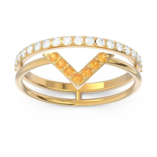 Modern Double Line V-Shape Pave Viparinama Citrine Ring with Diamond in 14k Yellow Gold