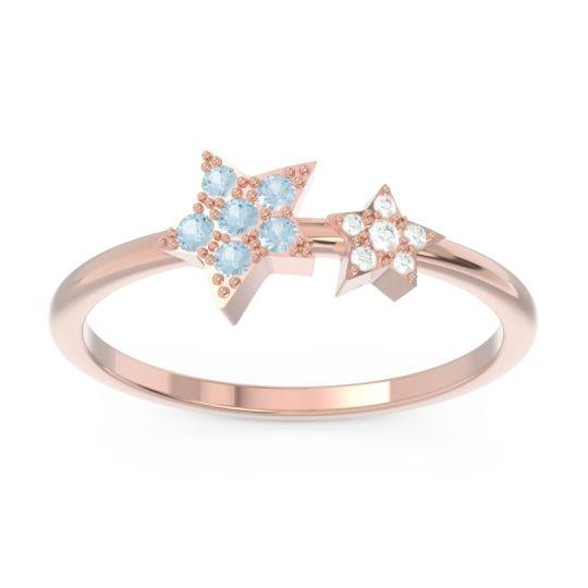 Petite Modern Pave Milati Aquamarine Ring with Diamond in 14K Rose Gold
