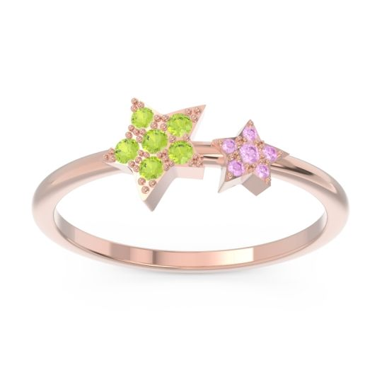 Petite Modern Pave Milati Peridot Ring with Pink Tourmaline in 14K Rose Gold
