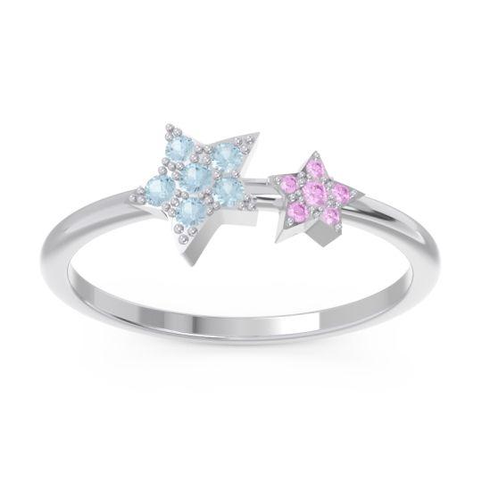 Petite Modern Pave Milati Aquamarine Ring with Pink Tourmaline in 18k White Gold