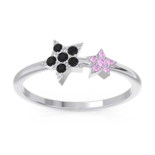 Petite Modern Pave Milati Black Onyx Ring with Pink Tourmaline in 18k White Gold
