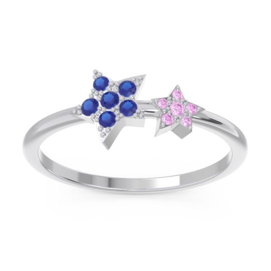 Petite Modern Pave Milati Blue Sapphire Ring with Pink Tourmaline in 18k White Gold