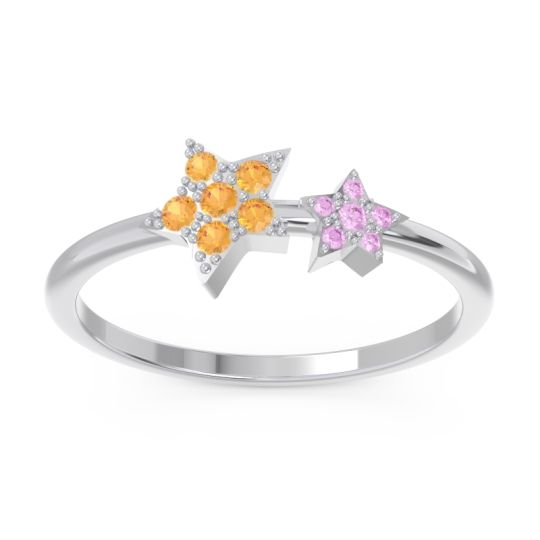 Petite Modern Pave Milati Citrine Ring with Pink Tourmaline in 18k White Gold