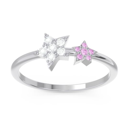 Petite Modern Pave Milati Diamond Ring with Pink Tourmaline in 18k White Gold