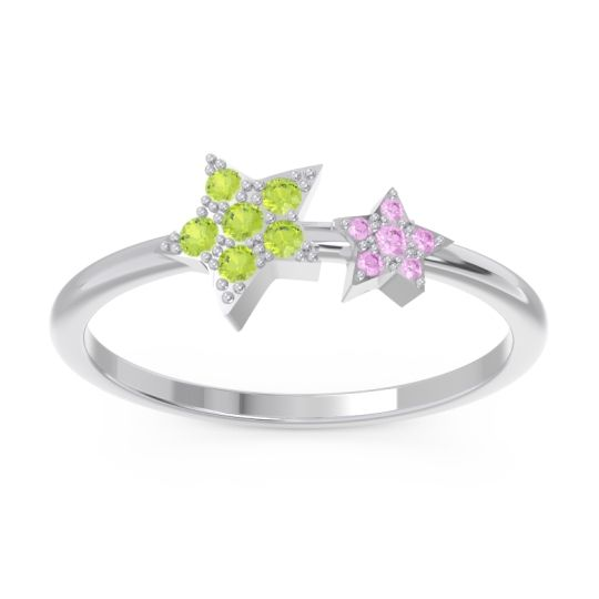 Petite Modern Pave Milati Peridot Ring with Pink Tourmaline in Platinum